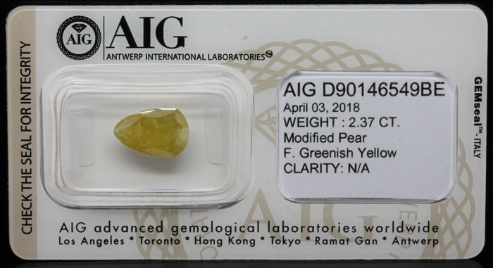 2.37 ct. Certified Natural Fancy Greenish Yellow Diamond - NO RESERVE