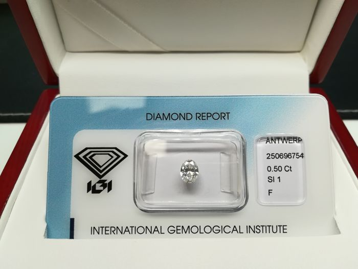 Natural diamond, 0.50 ct, F/SI1 - oval brilliant