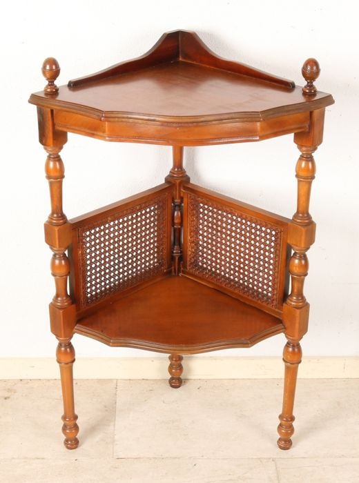 Walnut - corner etagere - table with wicker work - colonial style furniture