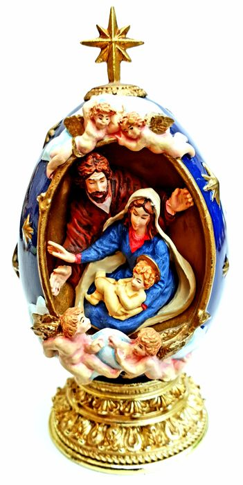 "House of Faberge - Religious Holy Egg ""The Nativity"" - Complete with 24 carat gold"