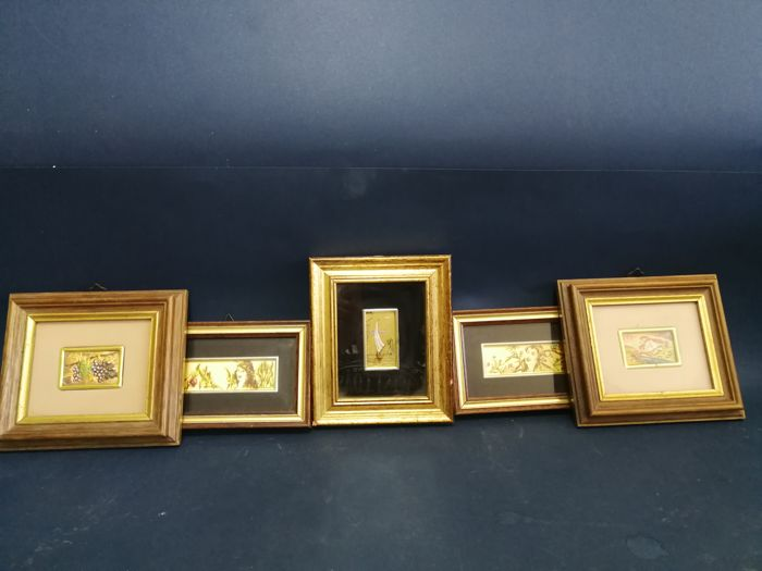 Trio of paintings with frame marked gold 23.75 and a pair of pictures marked silver 925 with gold leaf