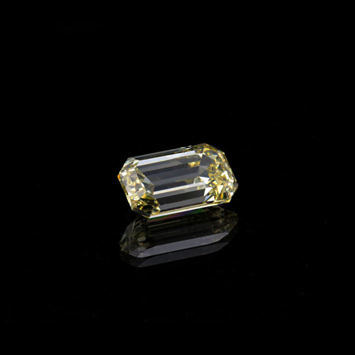 1.20 ct. Natural Fancy Light Yellow VS1 Emerald shape Diamond.