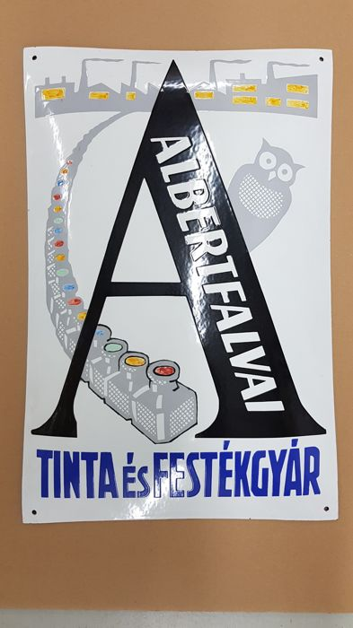 Albertfalvai paint and ink enamel sign