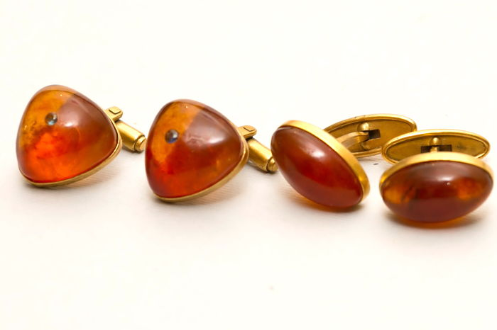 Set of 2 pair vintage Baltic Amber cufflinks (cuff links) with sapphires gold plated natural butterscotch, egg yolk Amber
