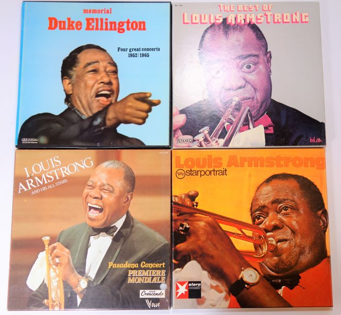 Jazz; Lot with 4 boxsets; Louis Armstrong - Duke Ellington