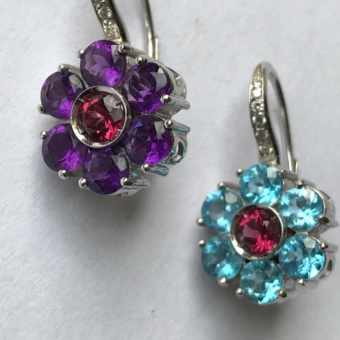GioielModa Milan - 18 kt White Gold Dangle Earrings in Floral Pattern with 4.62 Carat Amethyst, Topaz and Garnet and 0.24 ct Brilliant