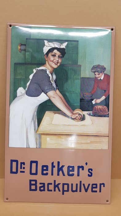 Enamel sign Dr Oetker's baking powder