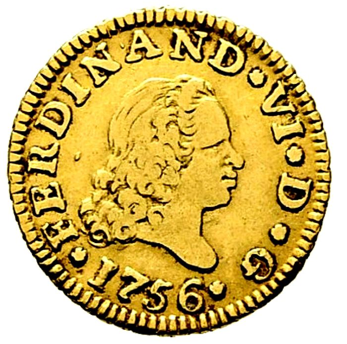 Spain - Fernando VI (1746 - 1759), 1/2 gold Escudo Madrid 1756 J B