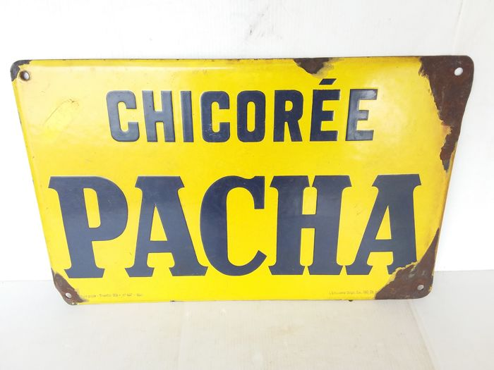 Very old enamel sign chicorée pacha - Belgium - 1930..