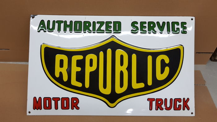 Authorized service REPUBLIC enamel sign