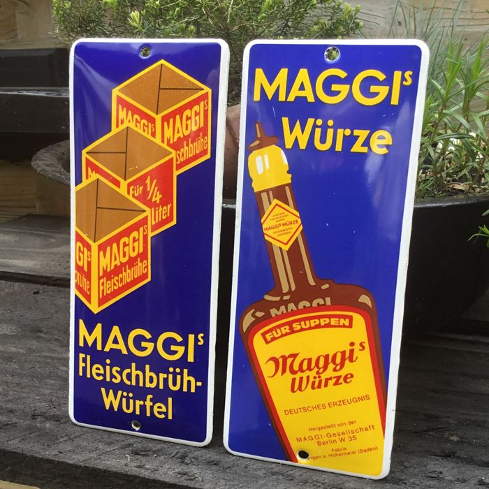 "Two old doorpost signs of ""Maggi"" from the 1970s / 1980s"