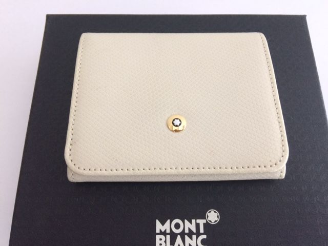 montblanc meisterstuck leather collection change wallet white leather slightly used see pictures