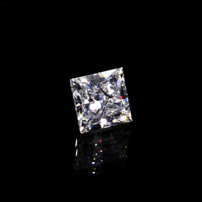 0.52 ct. Natural D color VVS2 Princess Cut Diamond.