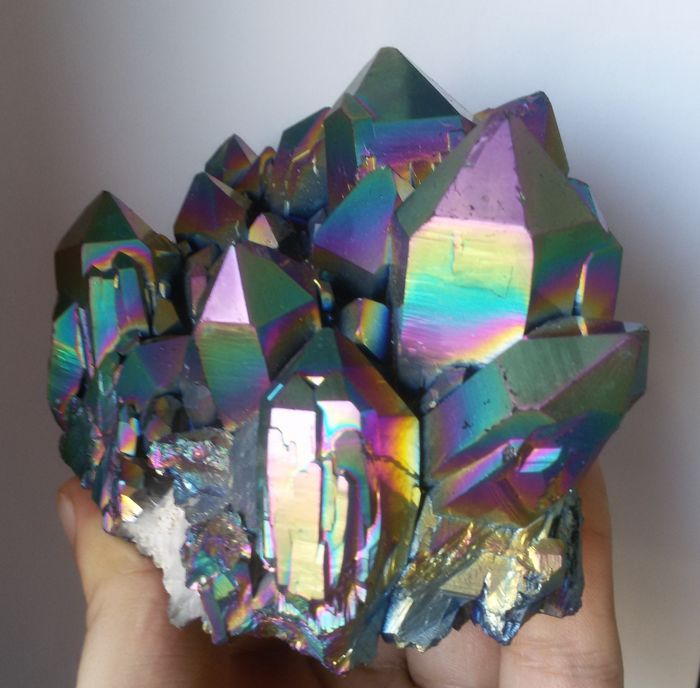 Rainbow Aura Quartz Titanium Cluster - 131 x 110 x 73 mm - 856 gm