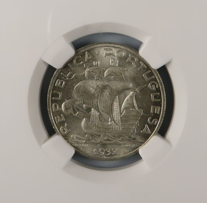 Portugal, Republic – 5 Escudos – 1932 – NGC MS65 – Silver