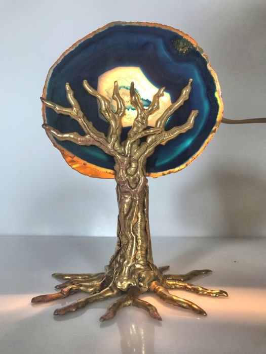 Designer unknown – Desk lamp, Tree of life (metal and stone)