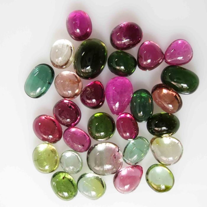 Tourmaline cabochon - 6.5 x 4.5 x 3.5 mm - 22.755 ct ( 29 pcs )