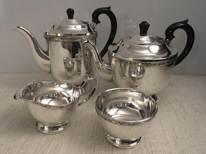 Vintage silver plated set of 4 piece  tea / Coffee Set . England Sheffield. Second half of 19th century.