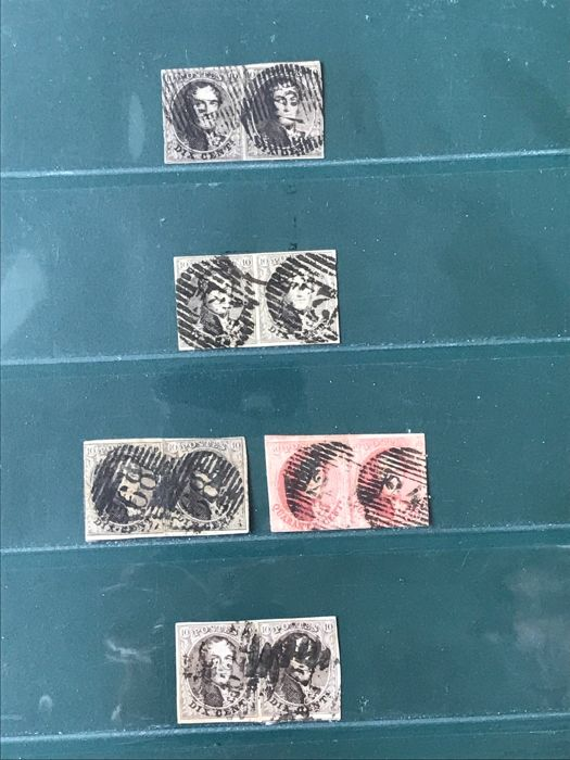 Belgium 1849/1861 - Selection of médaillons in pairs including OBP 3 - OBP3 / 12A