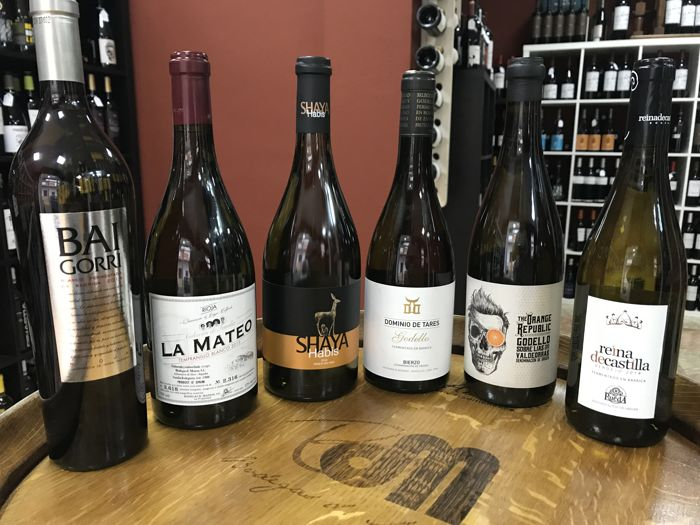 2 x 2014 Baigorri & 2 x 2015 La Mateo Tempranillo blanco & 2 x 2014 Shaya Habis & 2 x 2016 Dominio de Tares Godello & 2 x 2015 The Orange Republic Godello & 2 x 2014 Reina de Castilla - 12 bottles of white wine fermented and aged in oak barrels