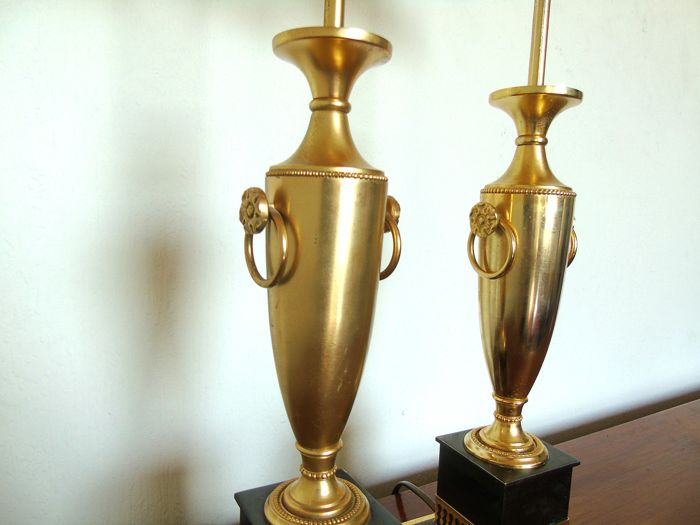 Unknown producer - Pair of brass golden lamps designed as a antique vase or amphora