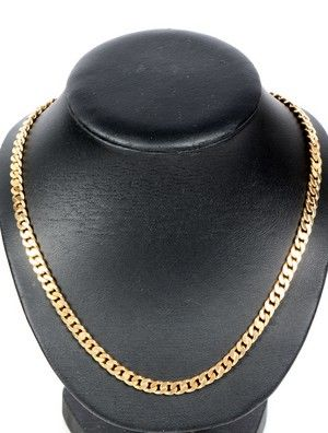 yellow gold armour link necklace 14 kt marked 585 and 44 grams