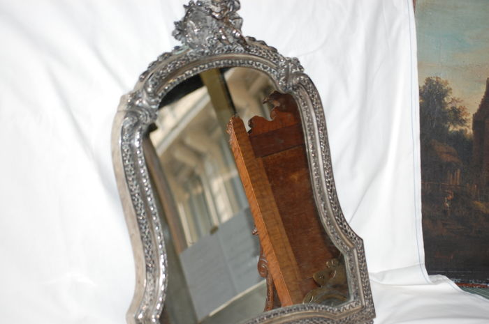 Silver mirror in Neoclassical revival style. Rome (Italy), circa 1930