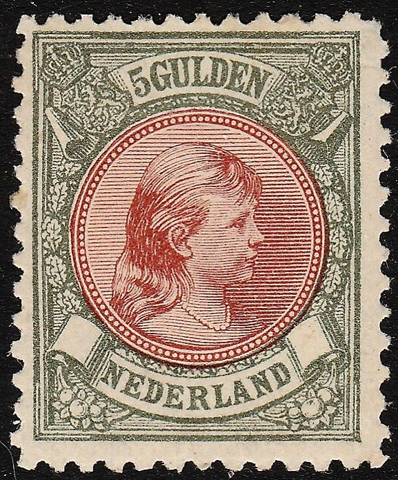 "The Netherlands, 1896, princess Wilhelmina of the Netherlands, ""hair let down"", NVPH 48"