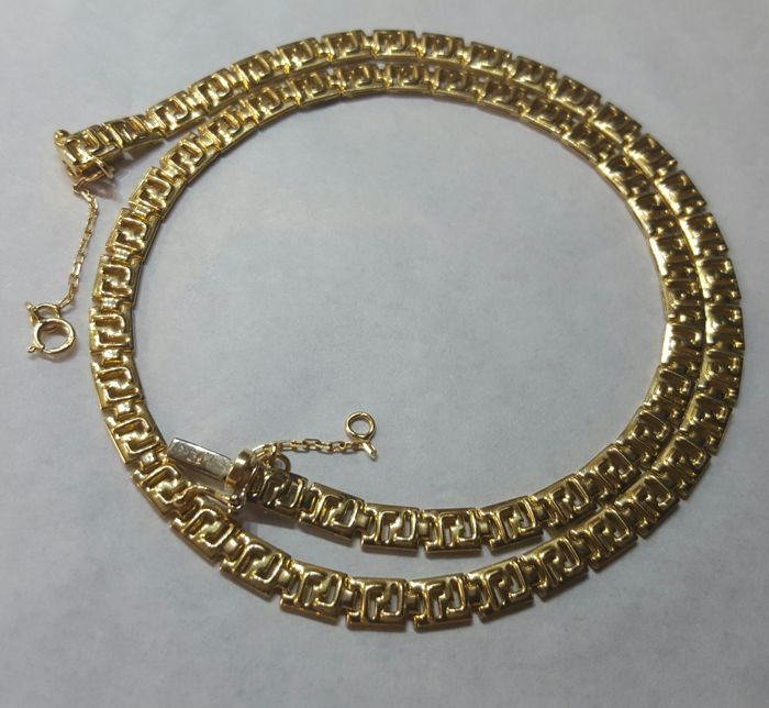 Gold 18 kt/750 - Gold necklace with classic Greek links - 16.80 g - No reserve