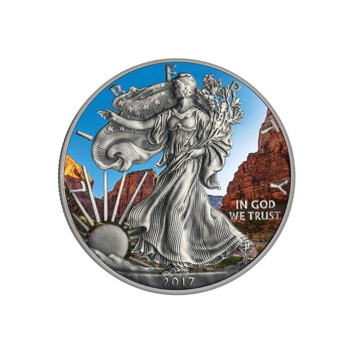 United States - 1 Dollar 2017 'American Eagle' Antique Finish & Coloured edition - 1 oz silver
