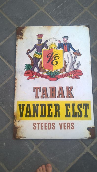 Enamel advertising sign TABAK VANDER ELST 1951
