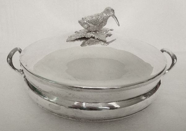 Lancel France - silver-plated metal vegetable serving dish with woodcock knob