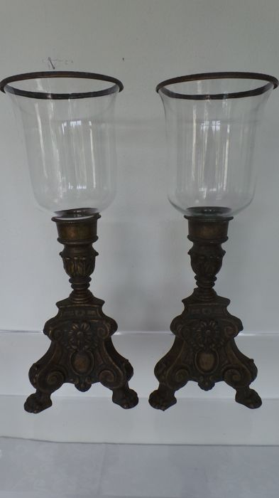 Set of large baroque wind lights on heavy bronze base with claw feet (50 cm) - 1st half 20th century