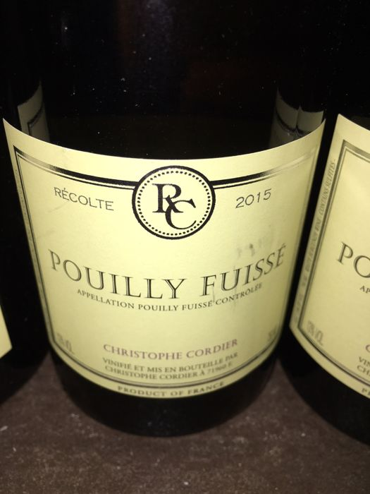2015 Pouilly Fuissé  Christopher Cordier x 7 bottles total.
