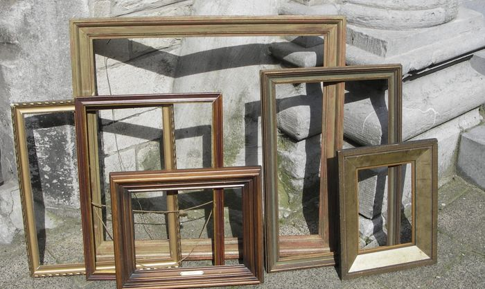 Six wooden frames for paintings, 20th century
