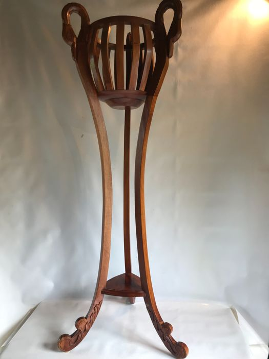 A cherry wood stand pot, 50s