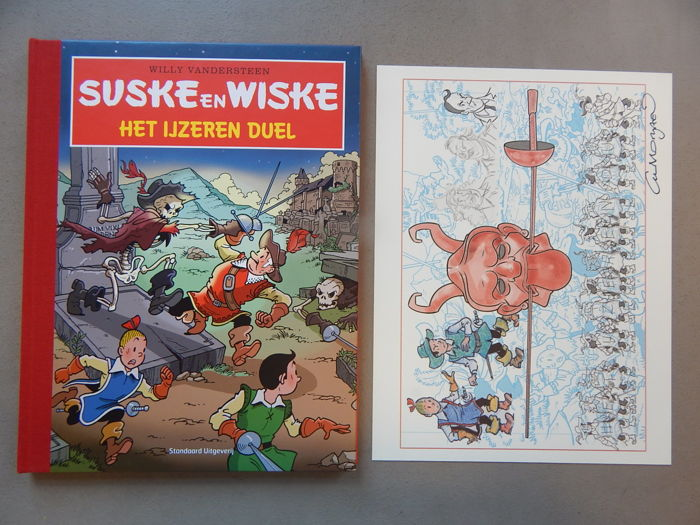 Suske en Wiske 321 - Het Ijzeren Duel + signed print - artist's proof - luxury hardcover with linen spine - first edition (2013)