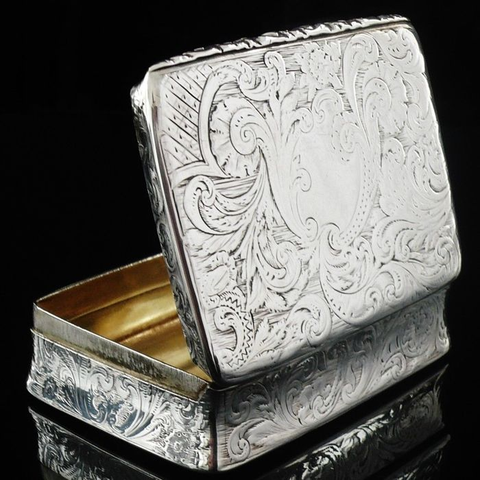 Antique Silver Snuff Box, Joseph Willmore, Birmingham 1839