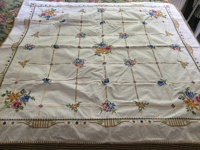 Beautiful hand embroidered tablecloth with cross stitches - size 117 x 115 cm