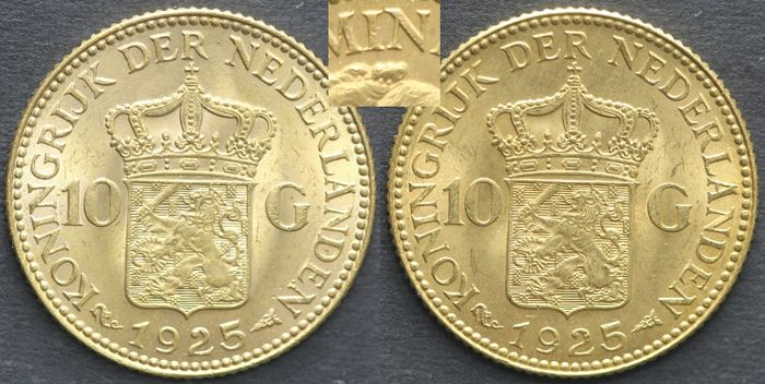 The Netherlands - 10 Guilders 1925a (variety pearls beneath IN) Wilhelmina - 2 pieces - gold