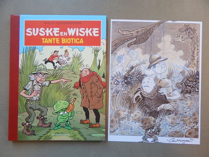 Suske en Wiske - Tante Biotica + signed print - artist's proof - luxury hardcover with a linen spine - first edition (2014)