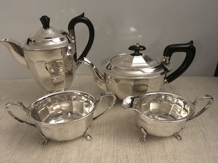 Vintage 4 piece silver plated tea / Coffee Set . Sheffield - second half of 19th century