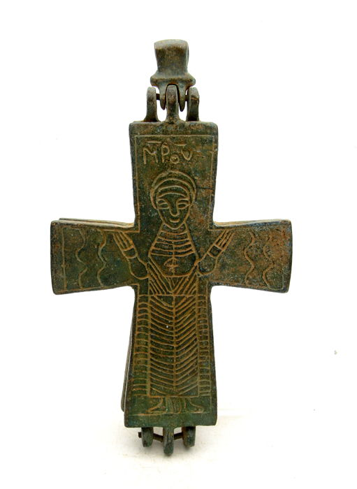 Medieval Crusaders Bronze Reliquary Cross Pendant  - 123x70 mm