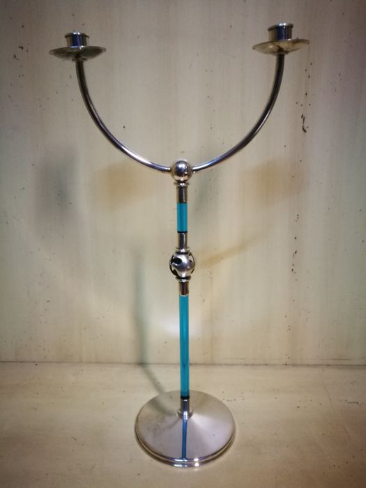 """Two flame candelabra in silver and blue Murano glass - signed by """"Ottaviani"""" - Italy, 1990s"""