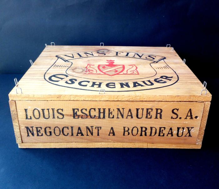 "Nice wooden crate from 1971, ""Eschenauer"" branded, for 3 bottles of Bordeaux wine"