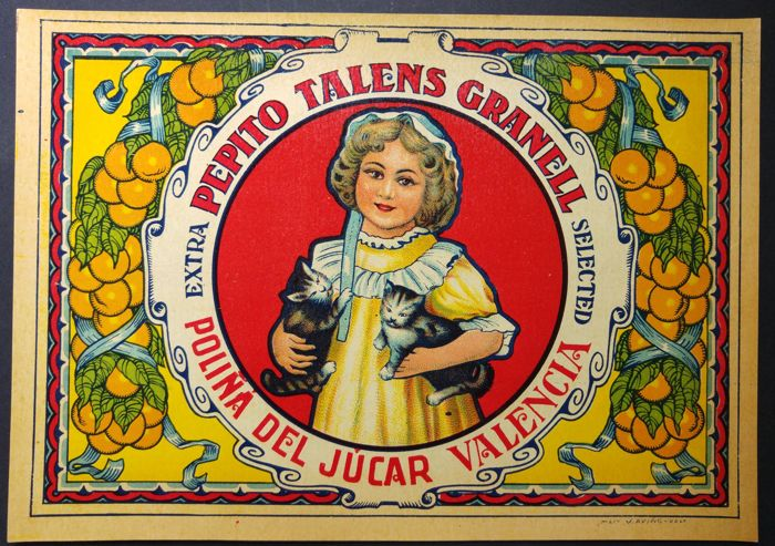 Beautiful Collection of 75 small posters about oranges - Spain - 1930s, 1940s, 1950s