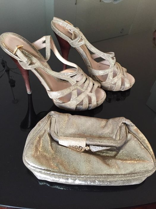 Fendi - Sandals size 37 with the matching clutch bag