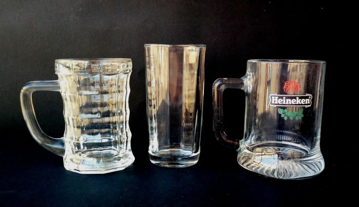 3x vintage beer glasses, collector's items - used in the 1940s/60s