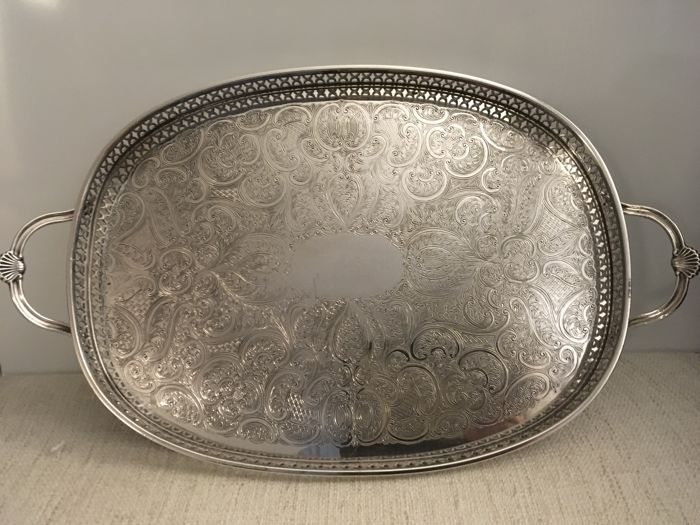 Vintage chased silver plated Gallery Tray  . England second half of 19th century