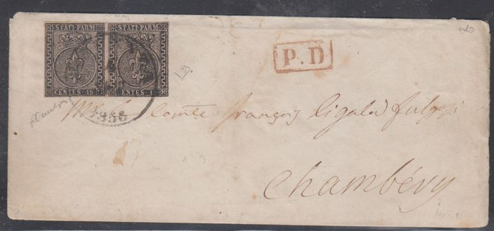 Parma, 1852 – 15 Cent pink, pair on envelope for Chambery – Sass. no. 3